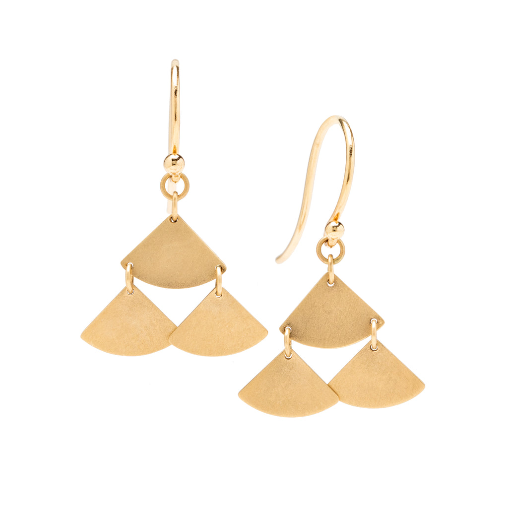 <!--ER906--> ginkgo bold tiered drop earrings