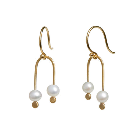 <!--ER928-->double pearl arch earrings