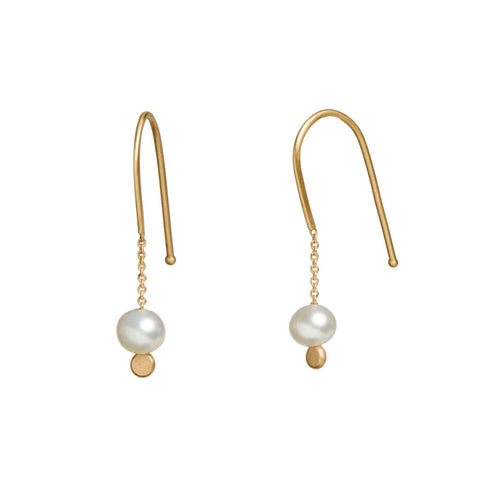 <!--ER929-->chain and pearl arch earrings