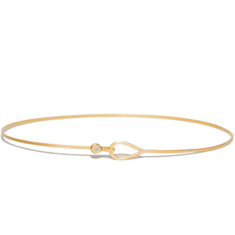 <!--BR490-->teardrop bangle bracelet with diamond