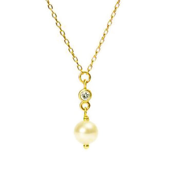 <!--NK638-->pearl sparkler drop necklace