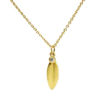 <!--NK653-->leaf necklace with diamond