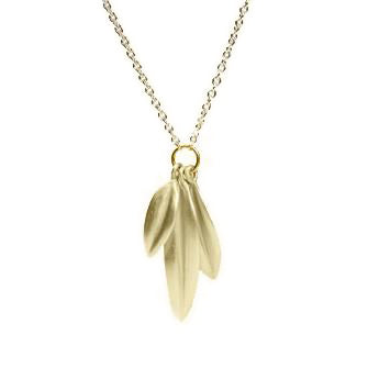<!--NK654-->hanging leaves necklace