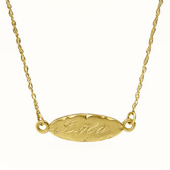 horizontal oval charm necklace
