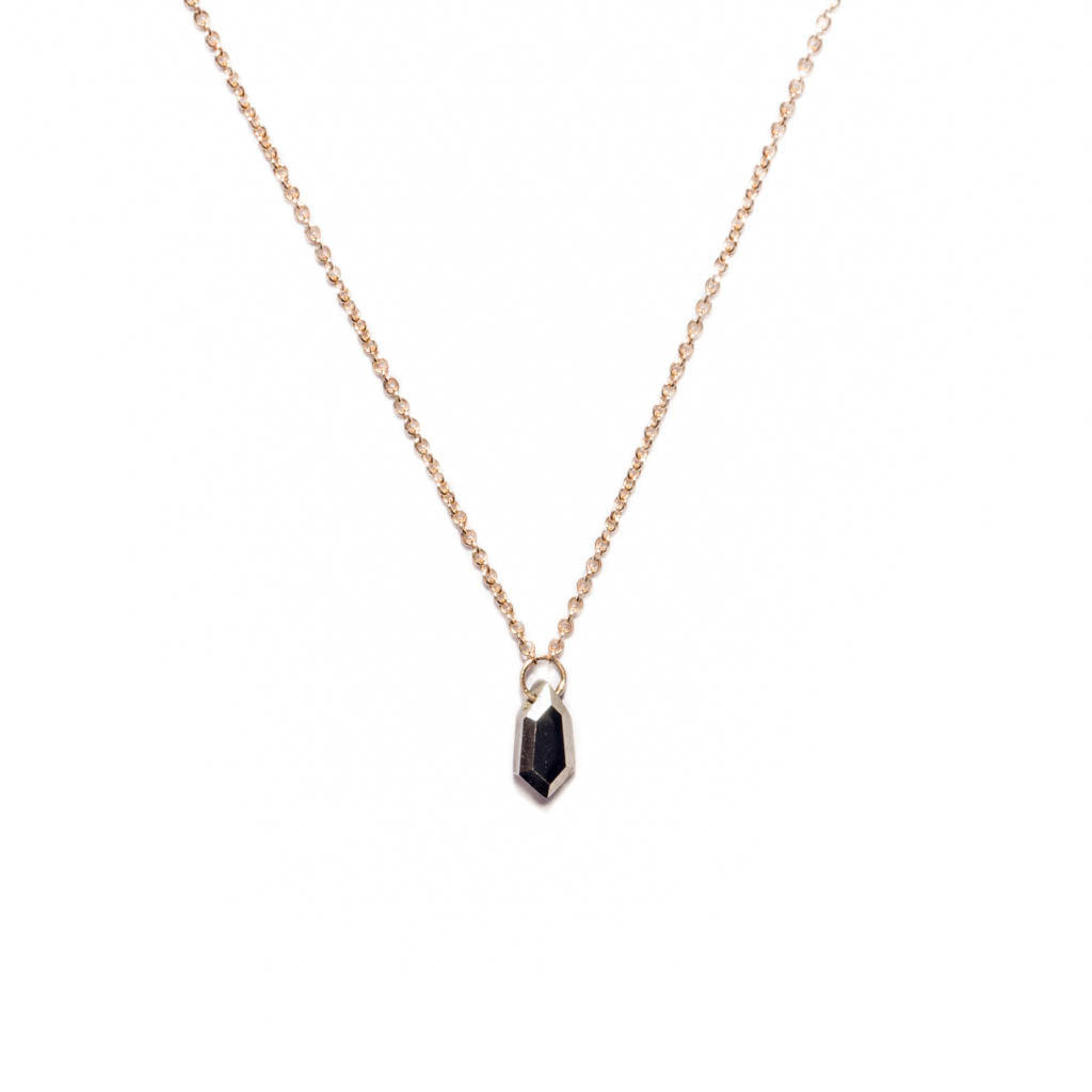 <!--NK916-->small pyrite shield solitaire necklace