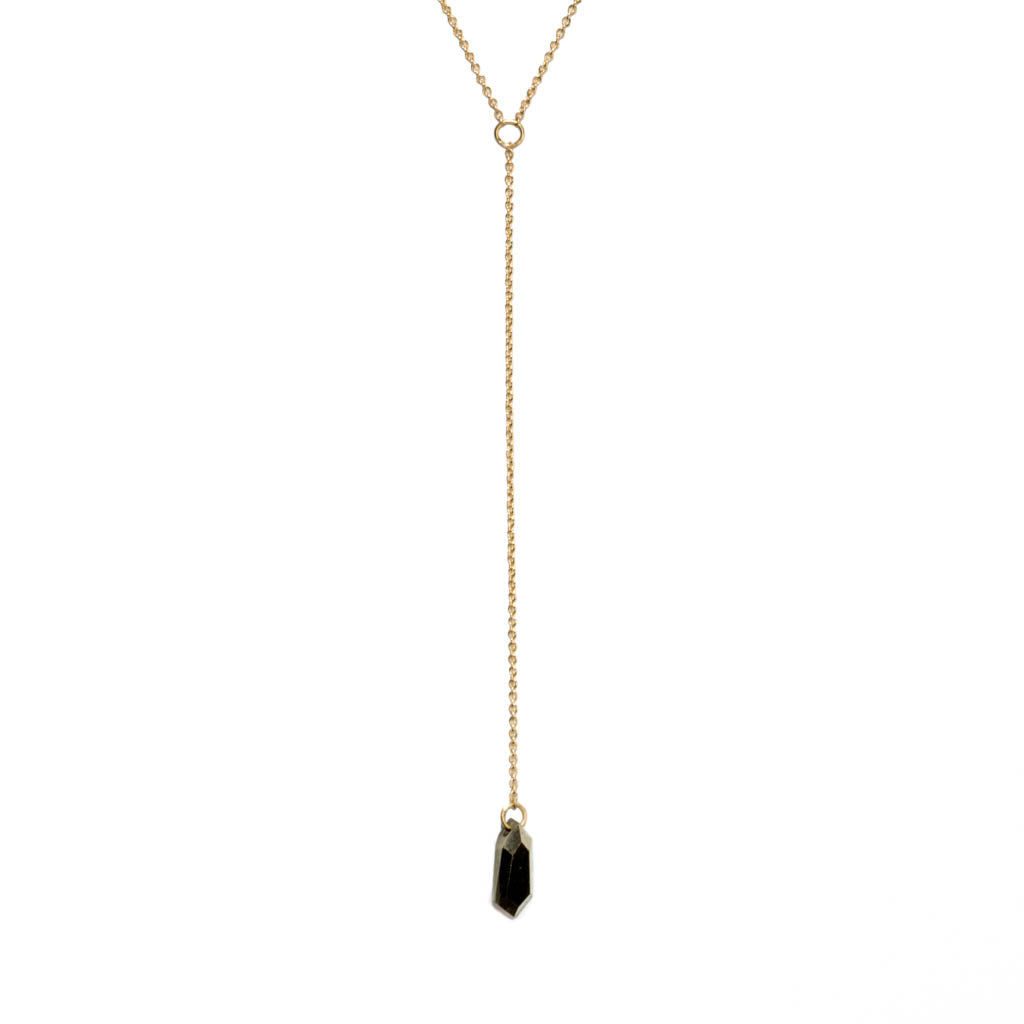 <!--NK920-->large pyrite shield lariat necklace