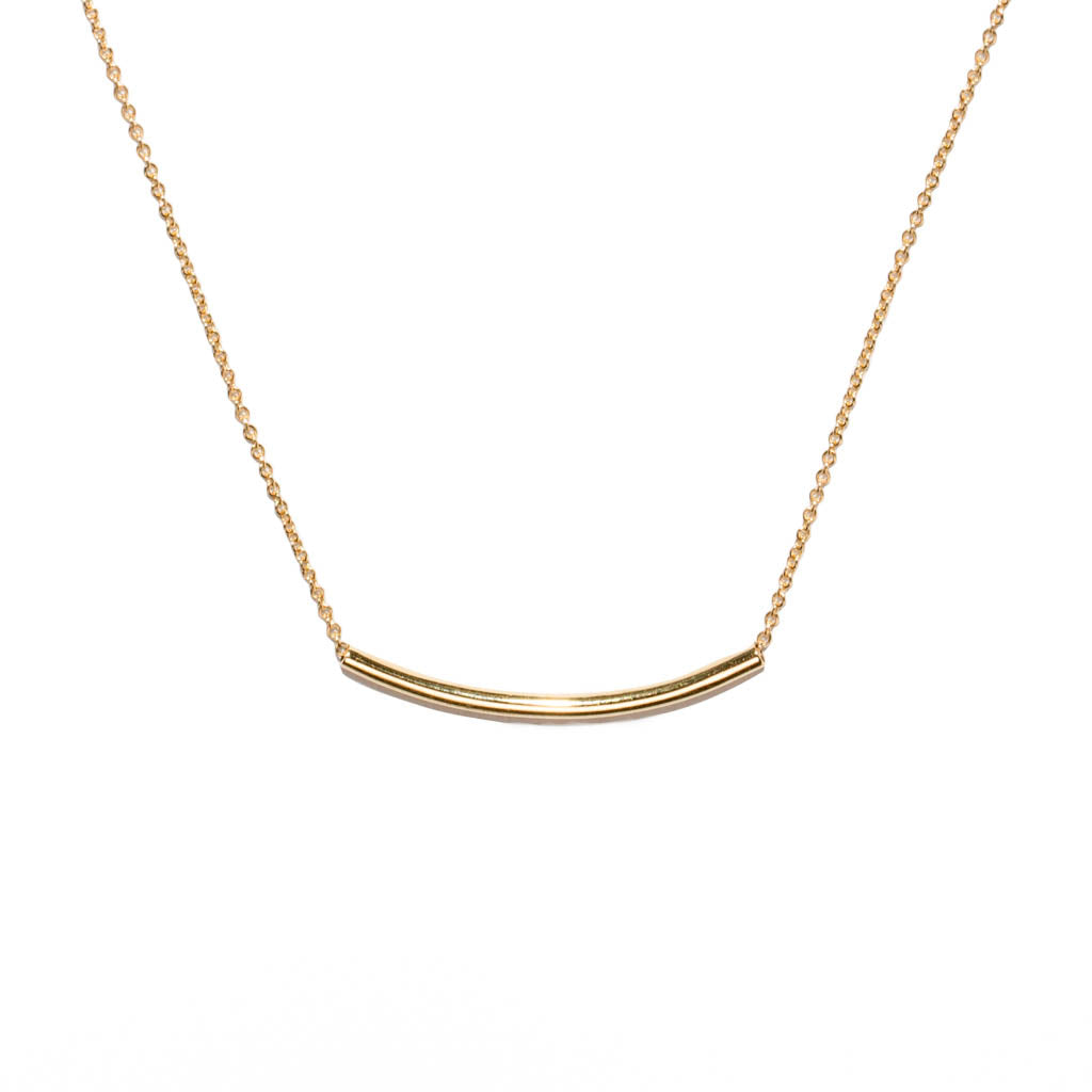 <!--NK951-->curved tubular mirror necklace