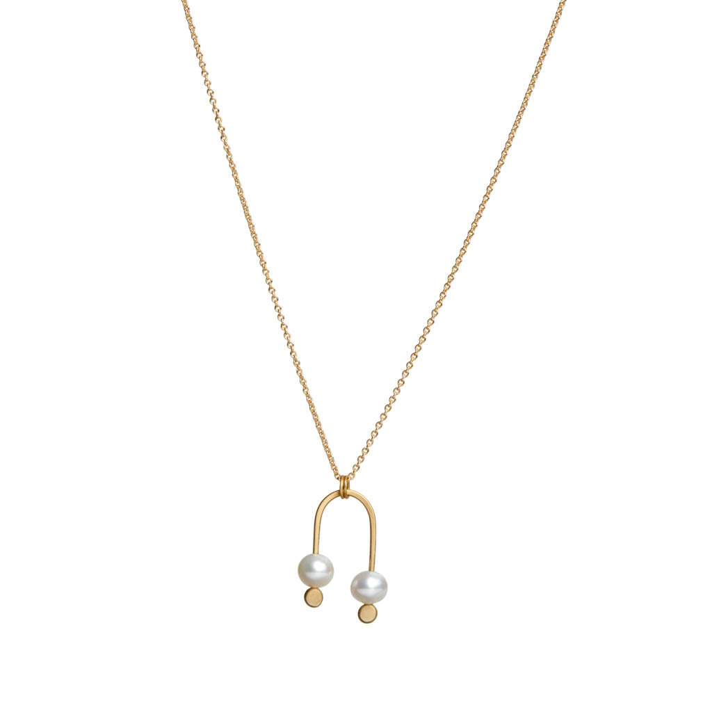 <!--NK981-->double pearl arch necklace