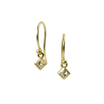 <!--ER605-->dainty earrings with princess cut diamond