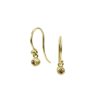 <!--ER603cognac-->dainty earrings with cognac diamond