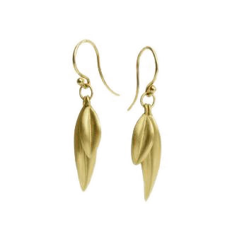 <!--ER600gold-->double leaf earrings 14k