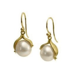 <!--ER595gold-->pearl double leaf earrings 14k