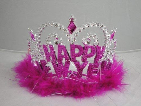 12 Happy New Year Marabou Tiaras - Assorted