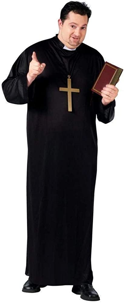 "Fun World Men's Priest, Black, Plus Size up to 6'2"" / 300 lbs"