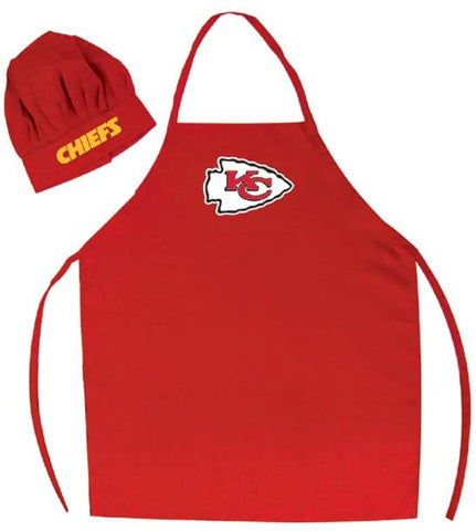 LA Auto Gear Men's Chef Hat & Apron - NFL - Kansas City Chiefs - Team Logo BBQ Barbeque Cook Grill Home Tailgating Picnic