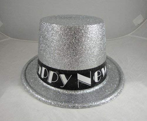 12 Happy New Year Silver Glitter Top Hats
