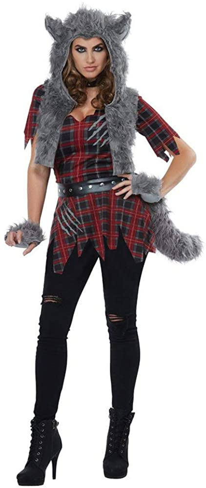 California Costumes Women's She-Wolf - Adult Costume, Red/Gray
