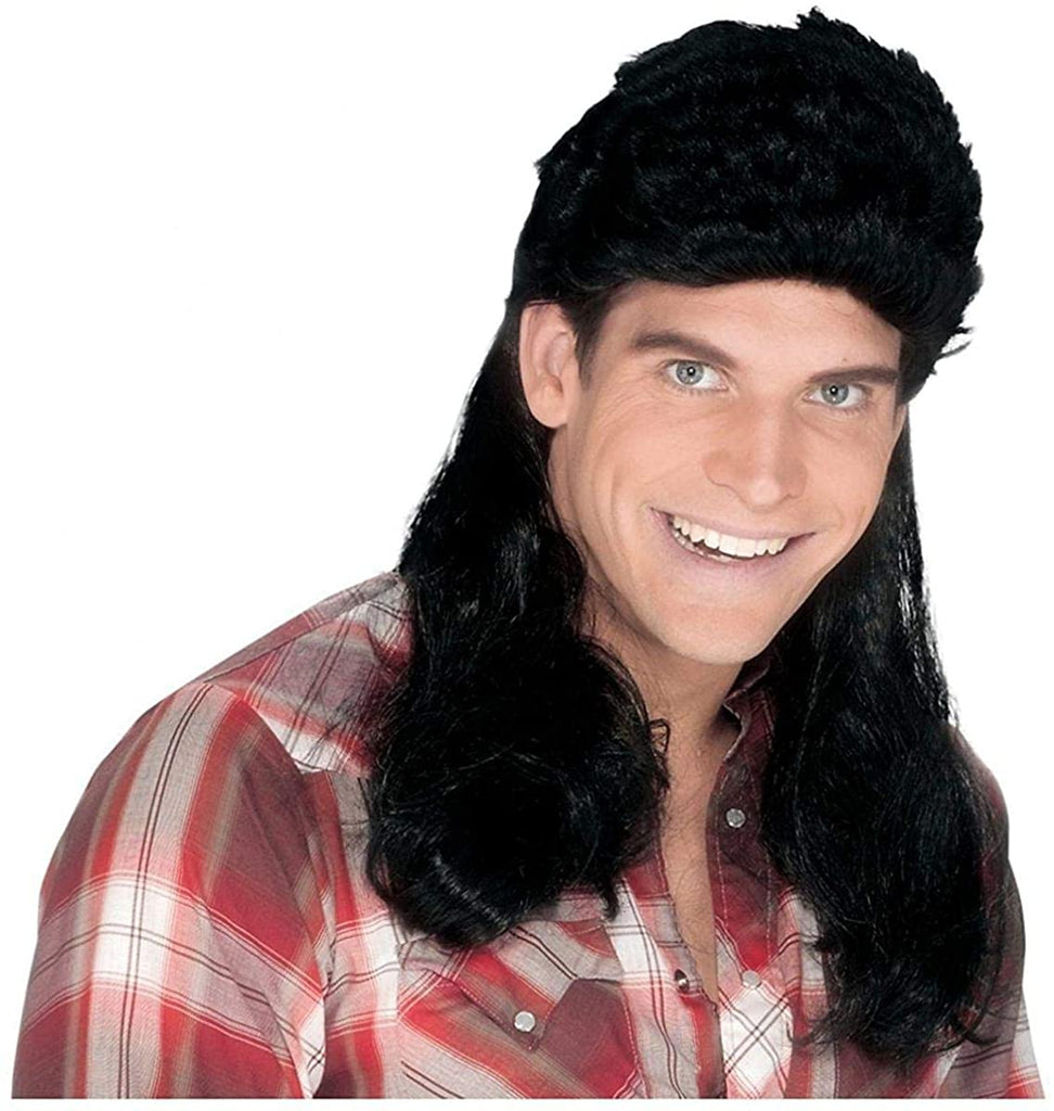 Fun World Men's Super Mullet Wig, black, Standard