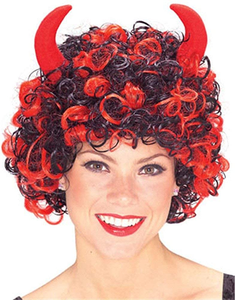 Adult's Black and Red Devil Demon Satan Wig with Horns