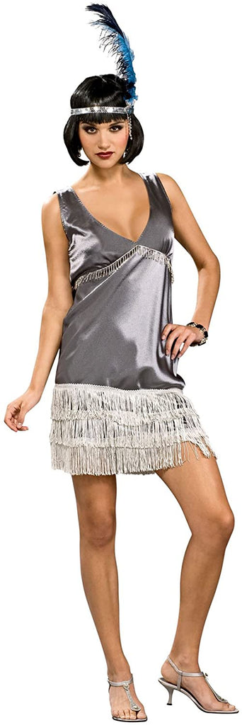 Silver Flapper Costume - Womens Small
