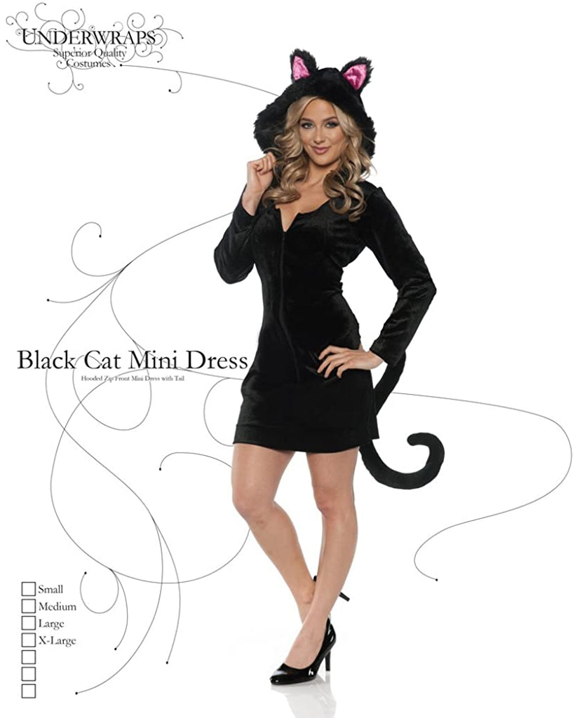 Women's Hooded Black Cat Costume - Mini Dress w/Tail