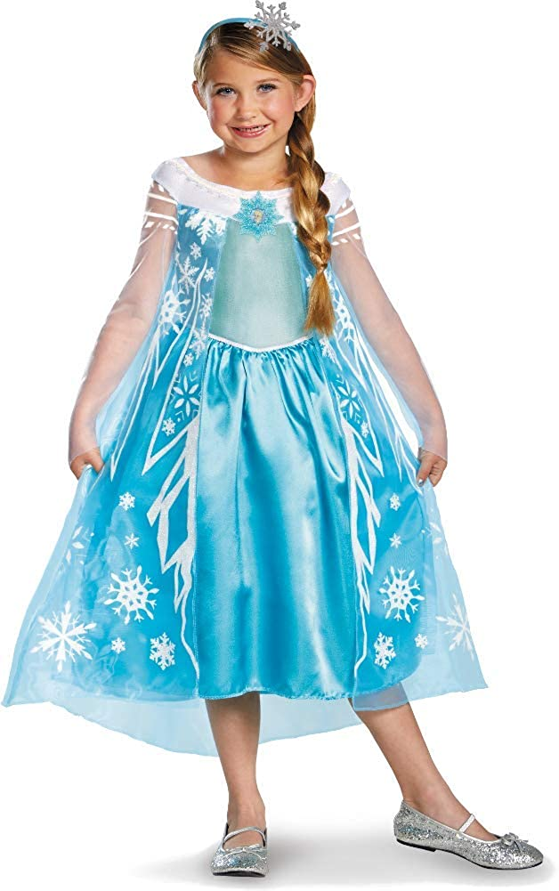 Disguise Disney Frozen Deluxe Elsa Costume with Headband Medium 7-8 Blue