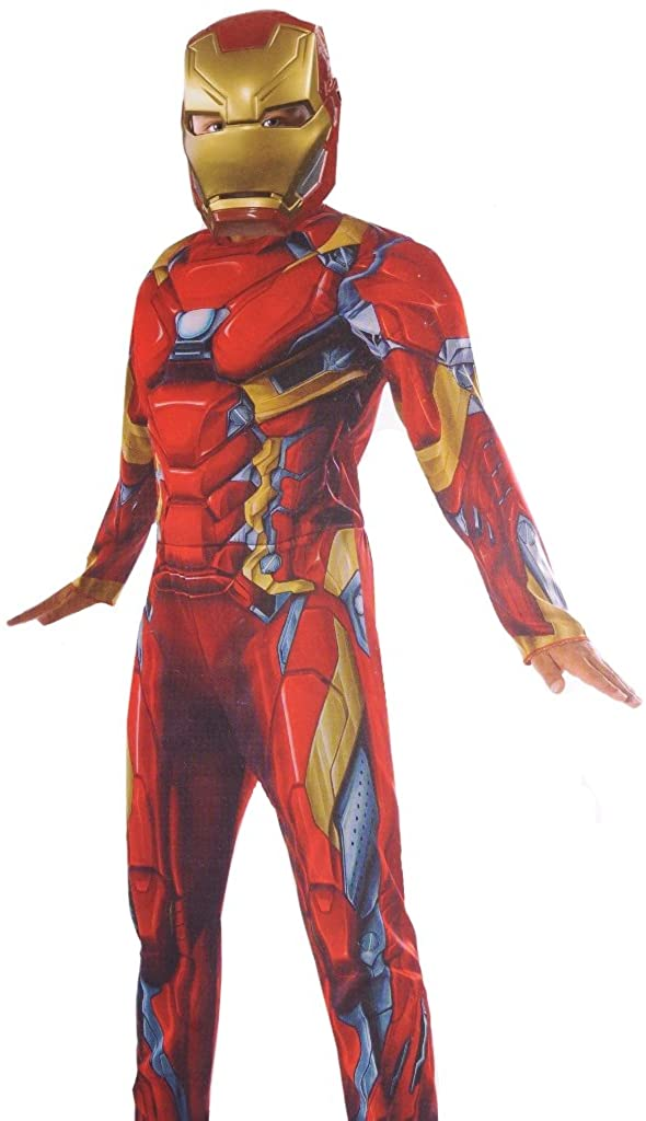 Boys Iron Man Muscle Costume and Mask Small 4-6 Red