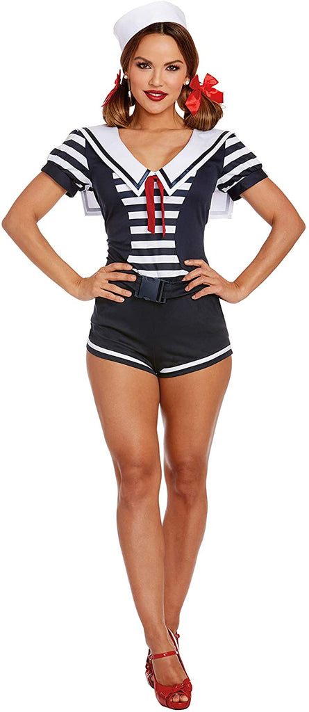 Dreamgirl Women's Seaside Sailor, Navy/White, Medium