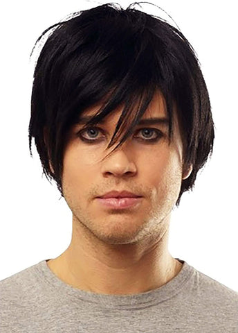 Franco Emo Mens Black Wig