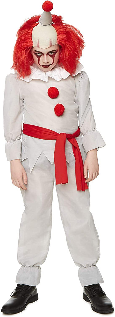 Killer Clown Costume - Halloween Kids Scary Horror Evil Villain Outfit, White, Red
