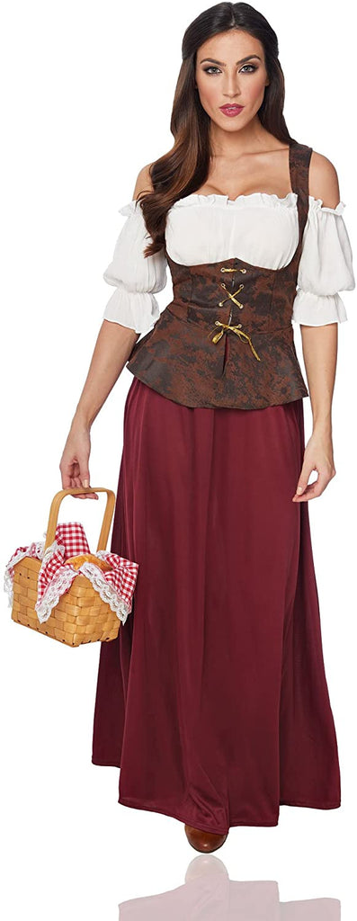 Costume Culture Women's Peasant Lady Costume, Burgundy/Brown, Small
