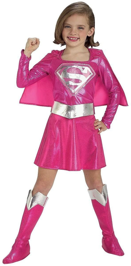 In Fashion Kids Girls Supergirl Costume - Pink (5-7 Years)