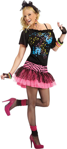 80s Pop Party Womens Costume, Small/Medium, Black/pink