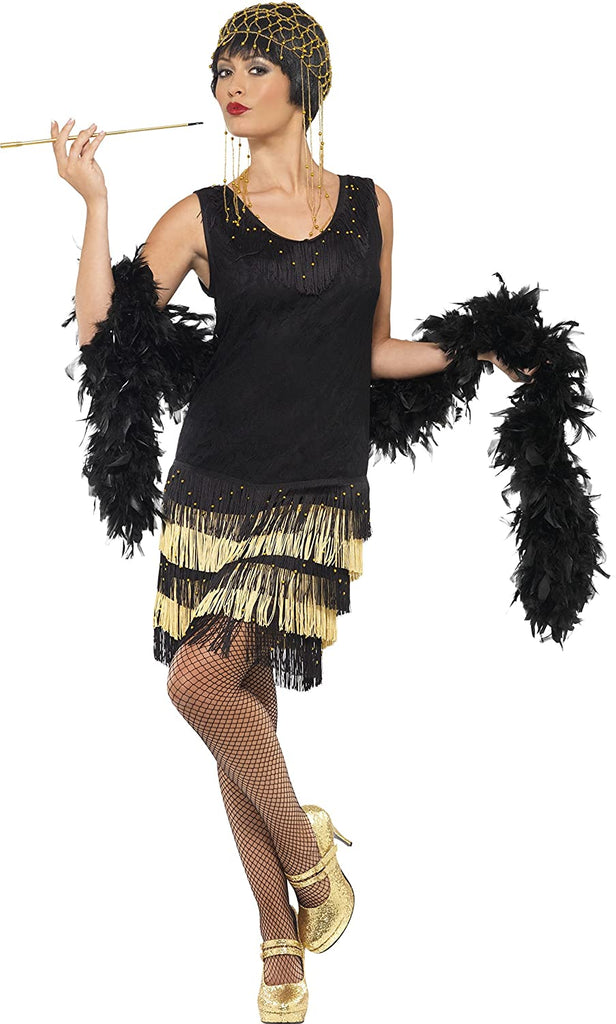 Smiffys Women's 1920s Fringed Flapper Costume, Black/Gold