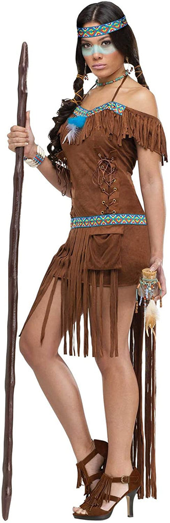 FunWorld Medicine Woman, Brown, 10-14 Medium/Large Costume