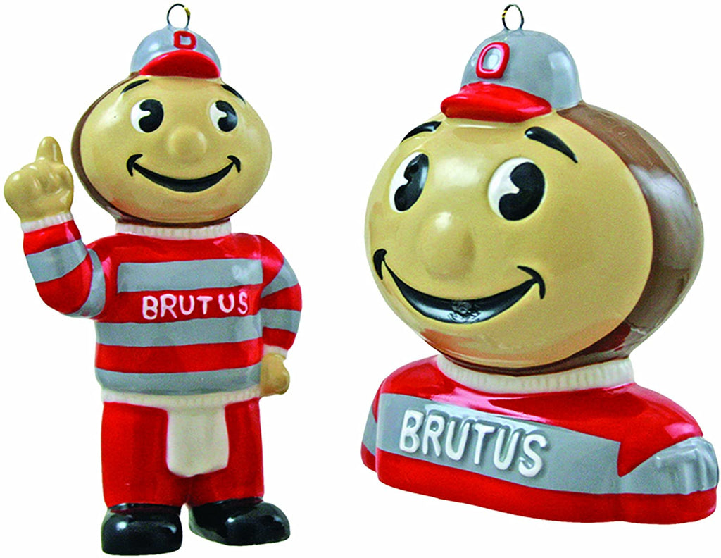 NCAA Ohio State Buckeyes 2-Piece Ceramic Mascot Bust & Figurine Ornament Set
