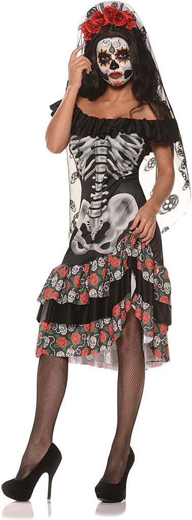 Women's Dia De Los Muertos Sugar Skull Costume - Queen of The Dead
