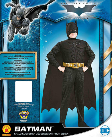 Batman Dark Knight Rises Child's Deluxe Muscle Chest Batman Costume with Mask/Headpiece and Cape