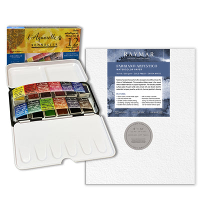 Sennelier Watercolor Half Pan Set + FREE 9x12 Watercolor Panel