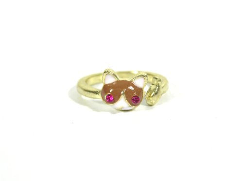 Cat Ring Size 5.5 Gold Tone Red Kitty Catching Fish RI11 Crystal Fashion Jewelry