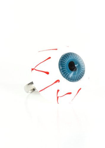 Bloodshot Eye Ring Adjustable Band Blue Punk RJ27 Statement Fashion Jewelry