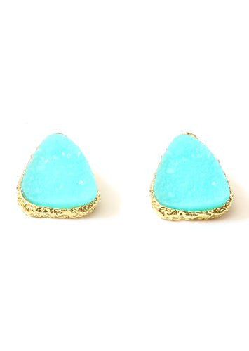 Drusy Crystal Stud Earrings Neon Ice Aqua Blue Geode Gold Tone EE42 Posts Fashion Jewelry