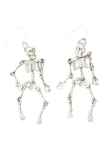 Bone Skeleton Dangle Earrings Silver Tone Articulated Limbs EH62 Fashion Jewelry