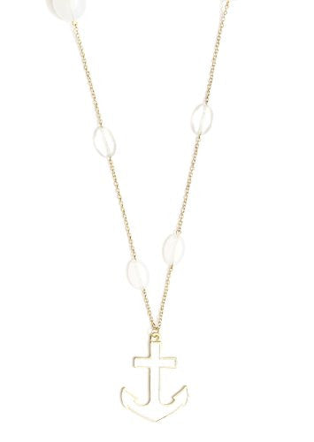 White Anchor Stations Necklace Gold Tone Nautical NI01 Sailor Pendant Pirate Yacht