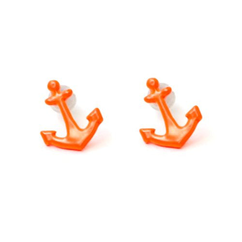 Neon Anchor Stud Earrings Fluorescent Orange EB29 Vintage Sailor Retro Nautical Posts