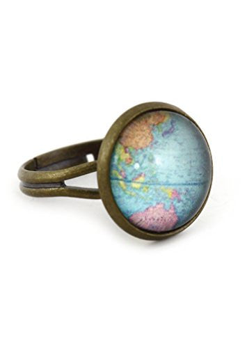 Atlas Globe Ring Antique Gold Tone Map Dome RM26 Statement Fashion Jewelry