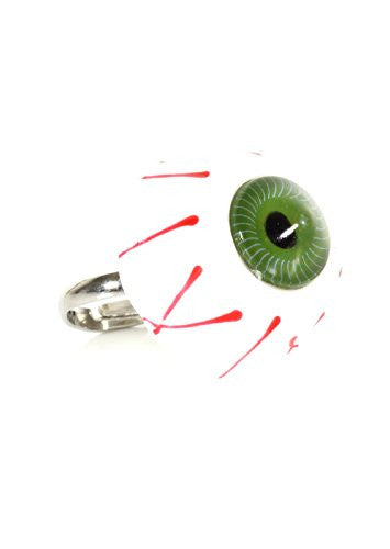 Bloodshot Eye Ring Adjustable Band Green Punk RJ28 Statement Fashion Jewelry