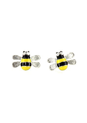 Crystal Bumblebee Stud Earrings Black Yellow Bee Insect Posts EI08 Fashion Jewelry