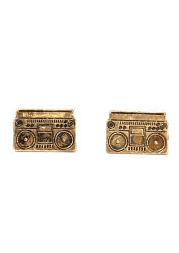 Boombox Stud Earrings Gold Tone Retro Hip Hop DJ Posts EE30 Fashion Jewelry