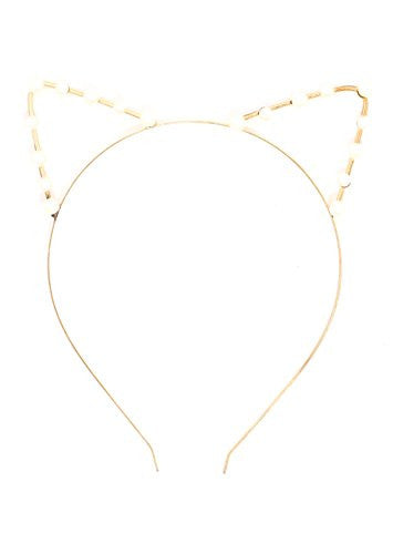 Cat Ears Headpiece Faux Pearl Hair Band Statement Gold Tone HA16 Cute Kitty Tiara Headband Fashion Jewelry